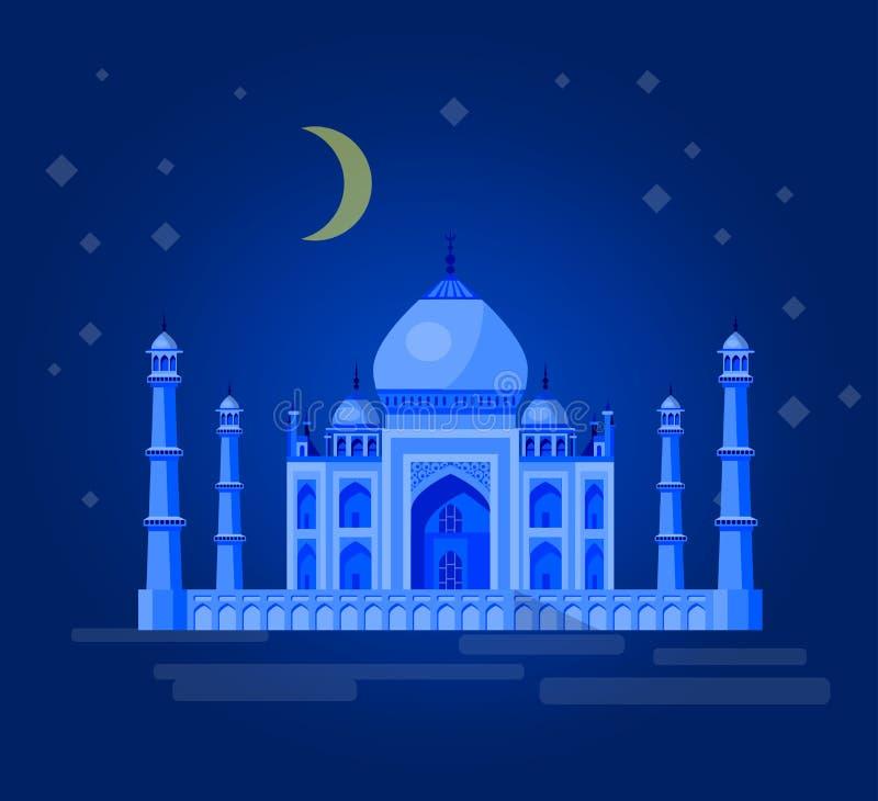 Vektorillustration av Taj Mahal en forntida slott i Indien vektor illustrationer