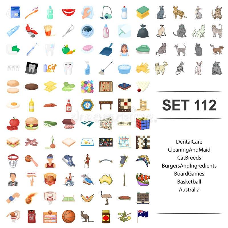 Vektorillustration av tand-, omsorg, lokalvård, hembiträde, katt, avel, Australien för basket för lek för hamburgareingrediensbrä stock illustrationer