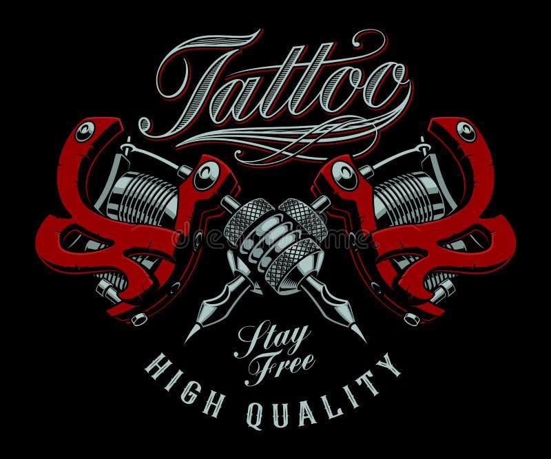 Vektorillustration av tatueringmaskiner på en mörk bakgrund royaltyfri illustrationer