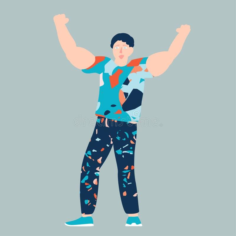 Vektorillustration av teckenet för toppen hjälte för ung man royaltyfri illustrationer