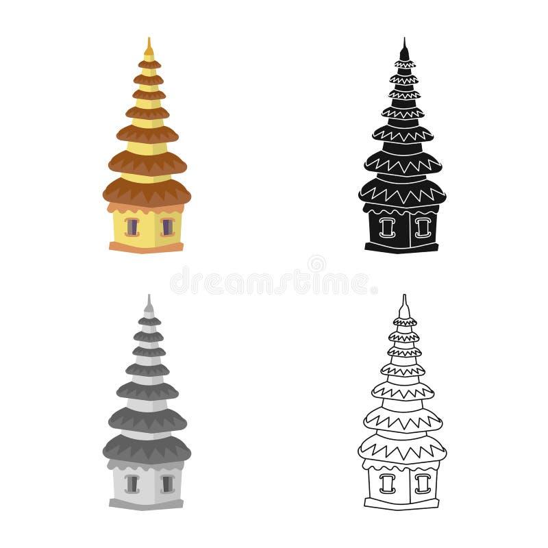 Vektorillustration av tempel- och gränsmärkelogoen Ställ in av templet, och hinduiskt lagerföra symbolet för rengöringsduk vektor illustrationer