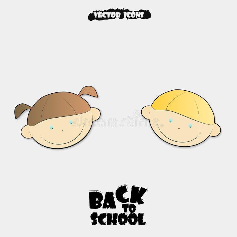 Vektorillustration av tillbaka till skolabakgrund symboler för barneps-lutningar inkluderar nr stock illustrationer
