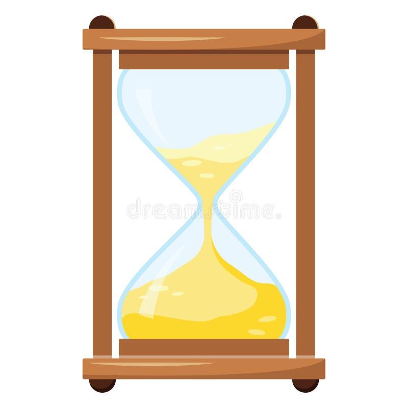 Vektorillustration av timglaset eller sandglass som isoleras på vit bakgrund vektor illustrationer