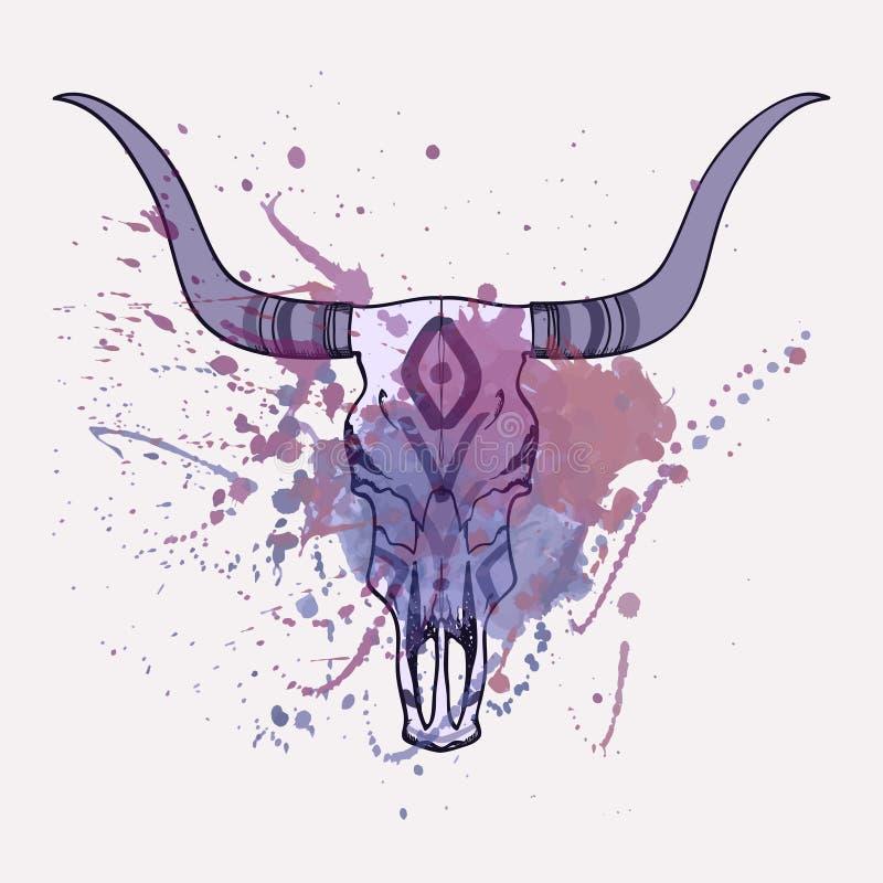 Vektorillustration av tjurskallen med vattenfärgfärgstänk stock illustrationer