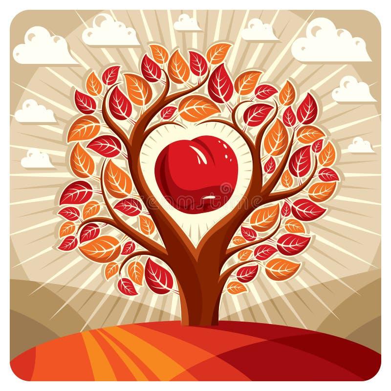 Vektorillustration av trädet med filialer i formen av hjärta stock illustrationer