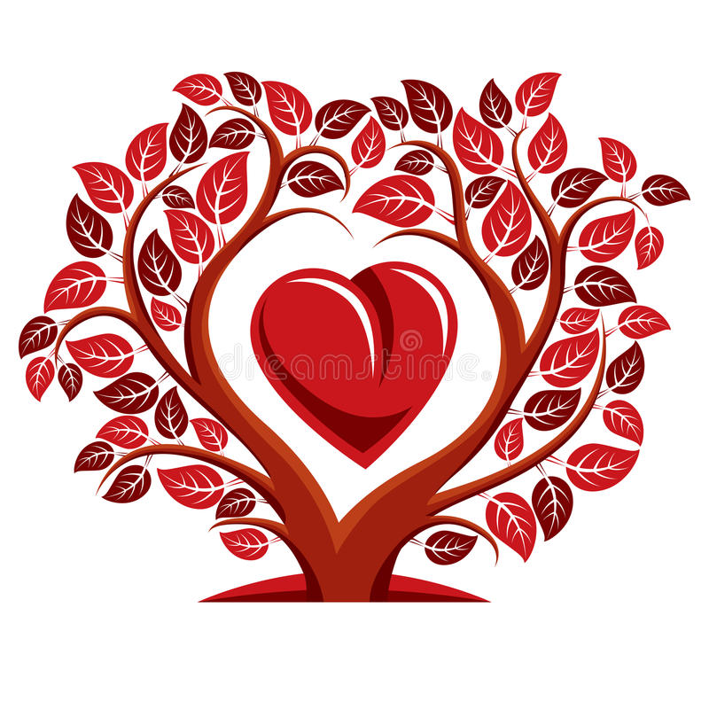 Vektorillustration av trädet med filialer i formen av hjärta vektor illustrationer