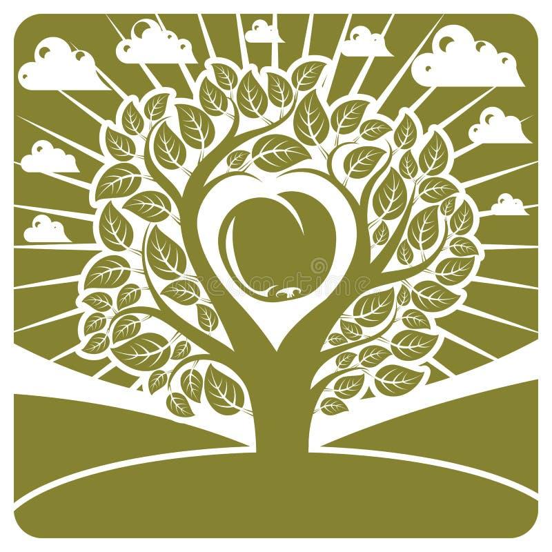 Vektorillustration av trädet med sidor och filialer vektor illustrationer