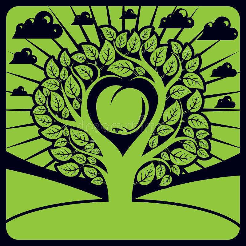 Vektorillustration av trädet med sidor och filialer stock illustrationer