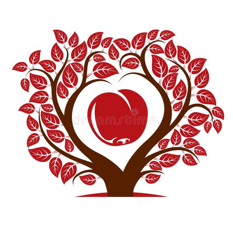 Vektorillustration av trädet med sidor och filialer i shapen royaltyfri illustrationer