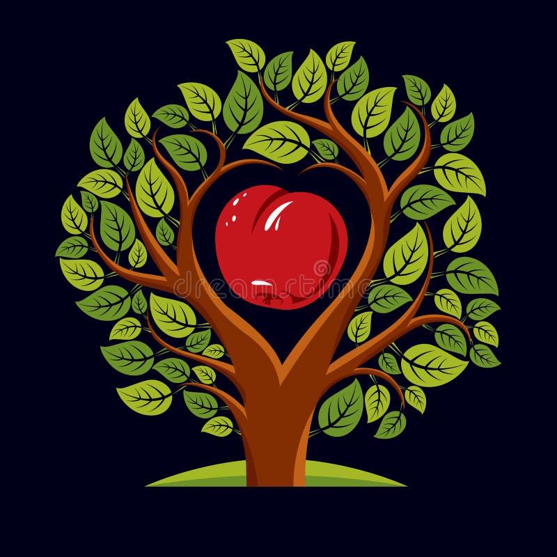 Vektorillustration av trädet med sidor och filialer i shapen stock illustrationer