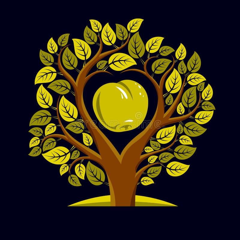 Vektorillustration av trädet med sidor och filialer i shapen vektor illustrationer