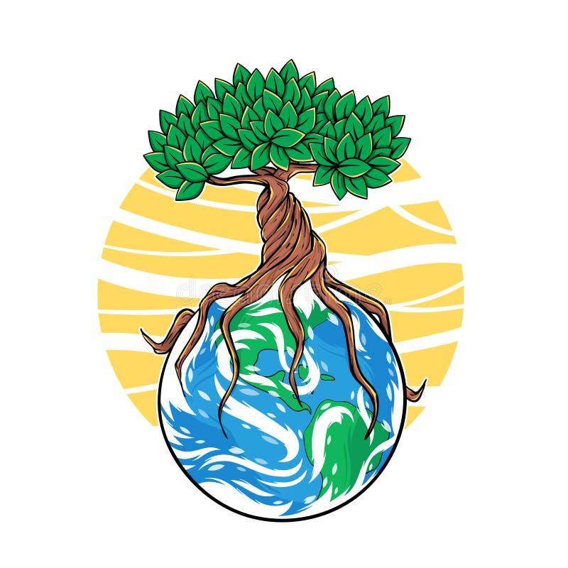 Vektorillustration av trädet som växer på jord royaltyfri illustrationer