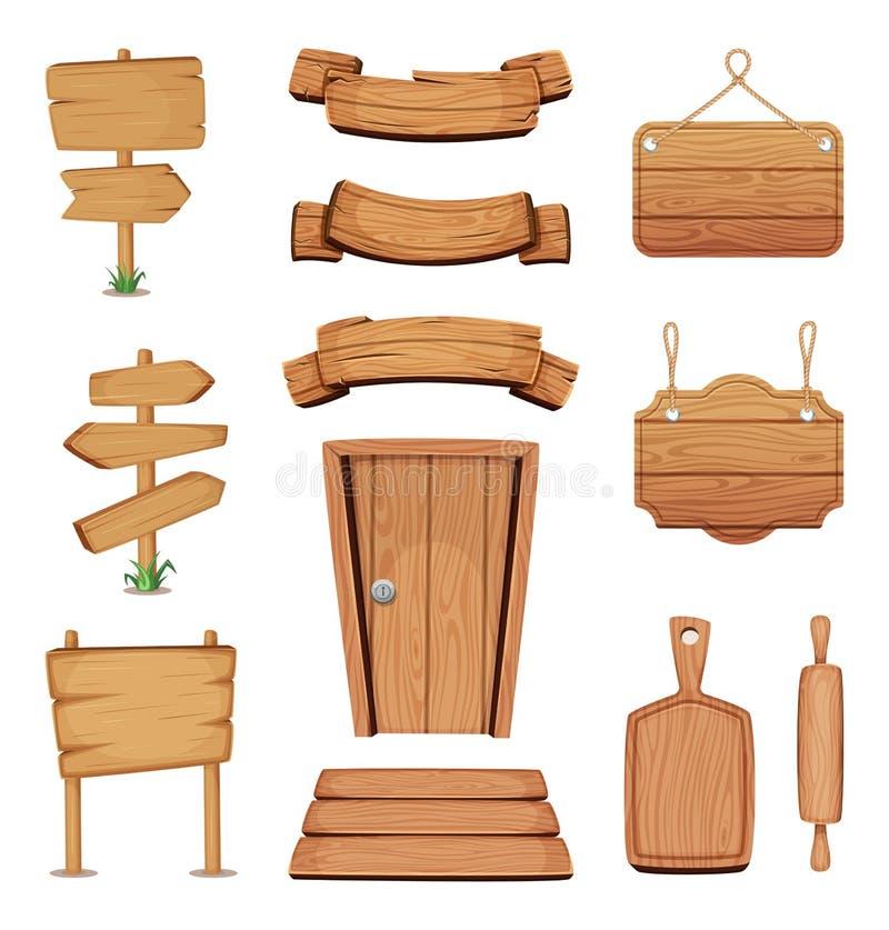 Vektorillustration av träskyltar, dörrar, plattor och andra olika former med wood textur stock illustrationer