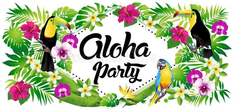 Vektorillustration av tropiska fåglar, blommor, sidor stock illustrationer