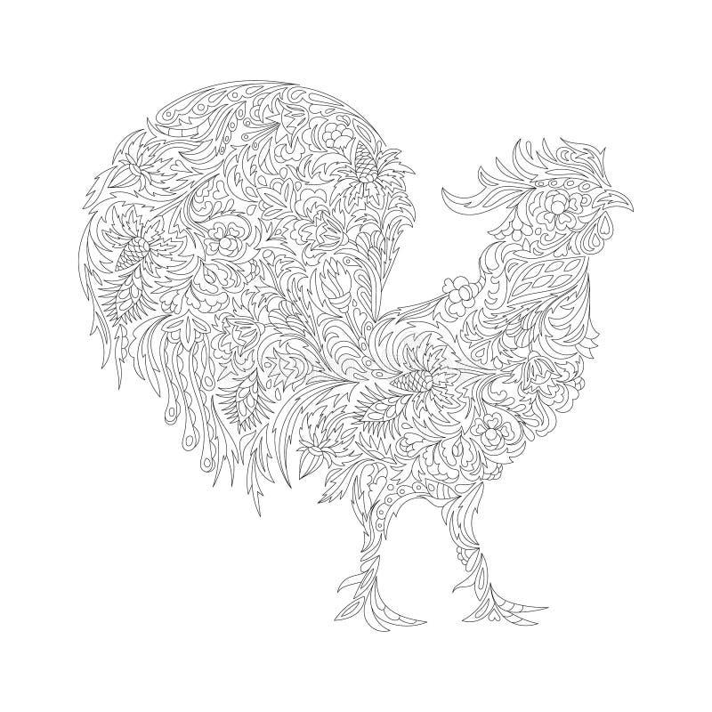 Vektorillustration av tuppen, symbol av 2017 stock illustrationer
