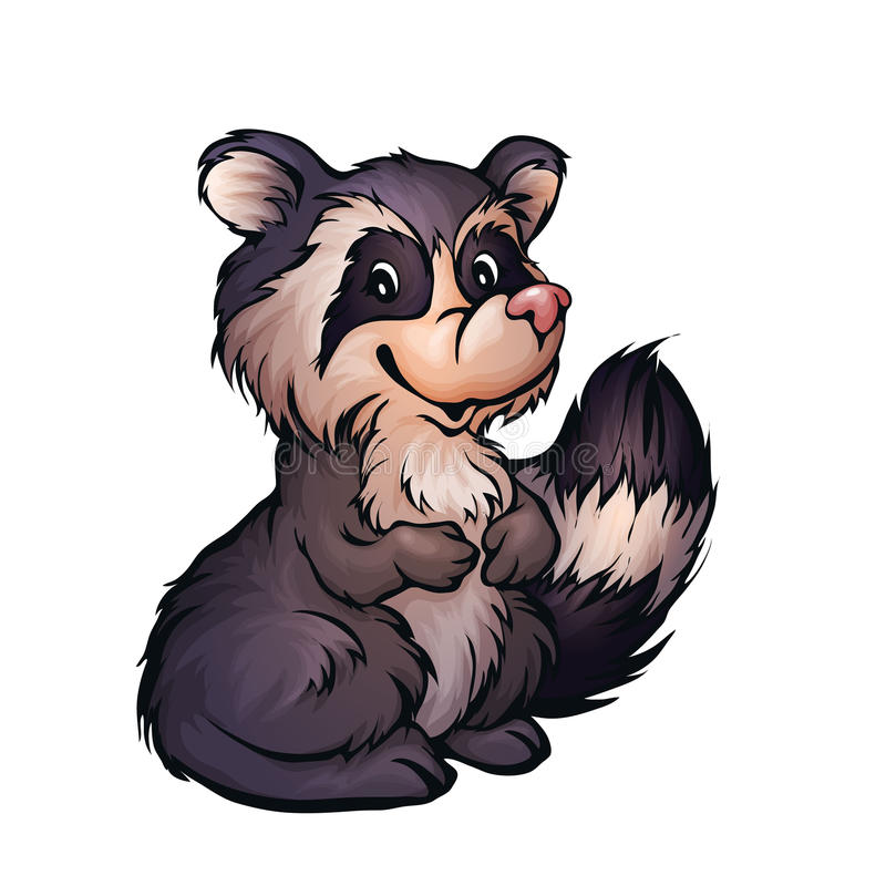 Vektorillustration av tvättbjörnen i tecknad filmstil vektor illustrationer