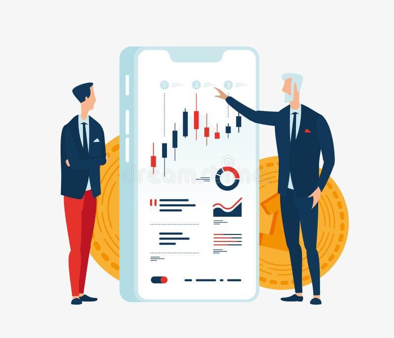 Vektorillustration av två affärsmanfinansiärer framme av skärmgrejen med grafer av finansiella indikatorer stock illustrationer