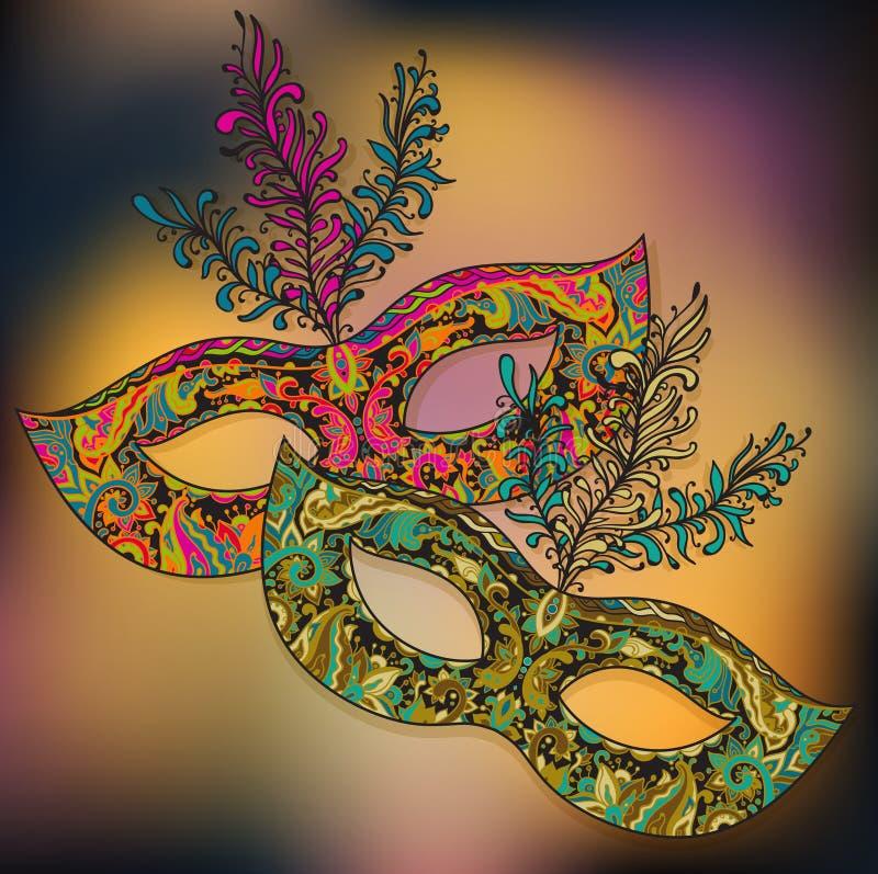 Vektorillustration av två blom- Venetian karnevalmaskeringar med f royaltyfri illustrationer