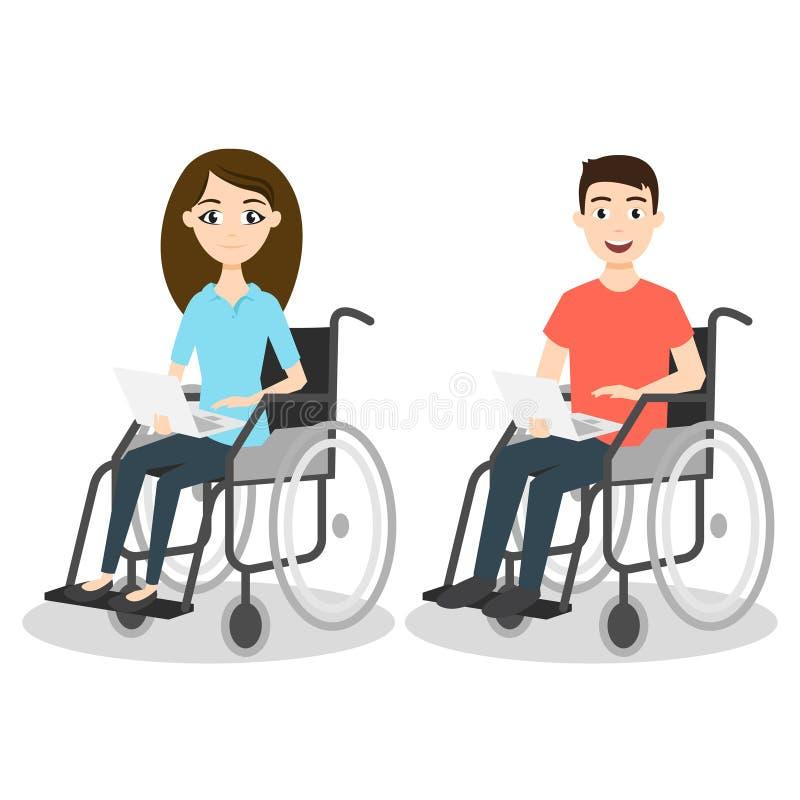 Vektorillustration av två ung man och kvinna i rullstol stock illustrationer
