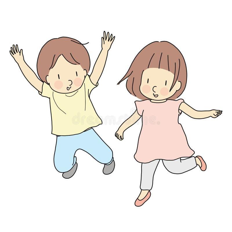 Vektorillustration av två ungar som tillsammans hoppar Utveckling för tidig barndom, lyckligt barndagkort, barn som spelar, famil royaltyfri illustrationer