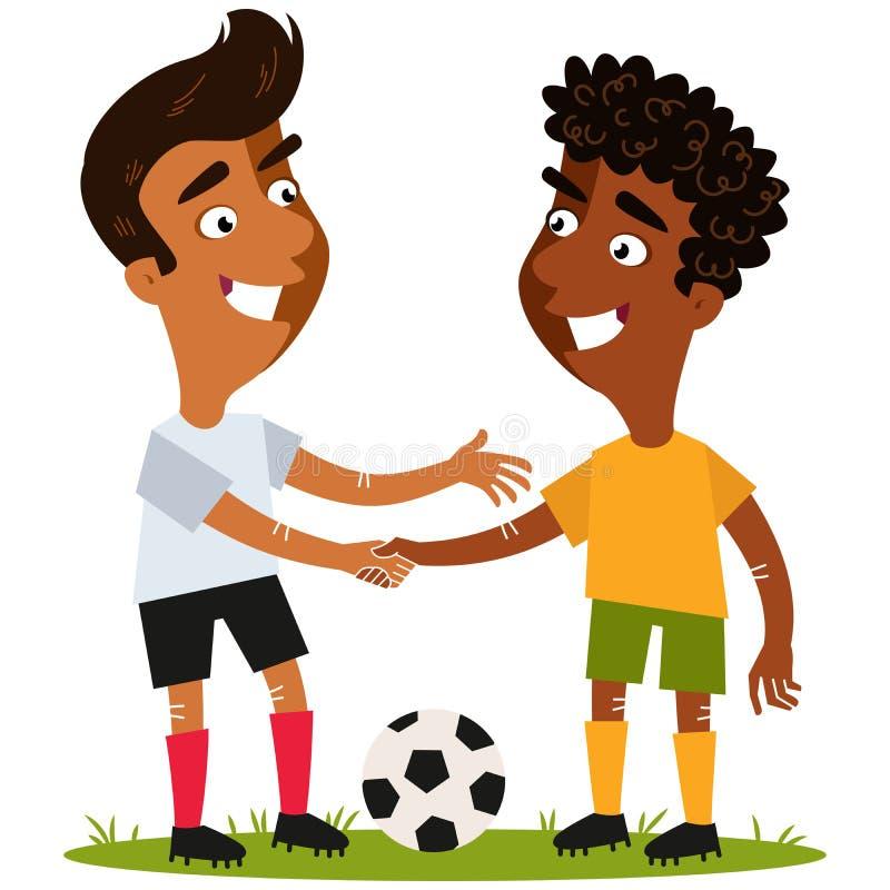 Vektorillustration av två vänliga tecknad filmfotbollspelare som står på fotbollfält med bollen som skakar händer med respekt royaltyfri illustrationer