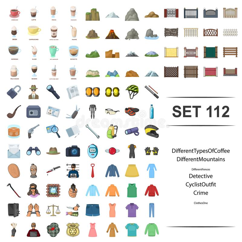 Vektorillustration av typ, kaffe som är olikt, berg, staket, uppsättning för symbol för kläder för detektiv- cyklistdräkt brotts- royaltyfri illustrationer
