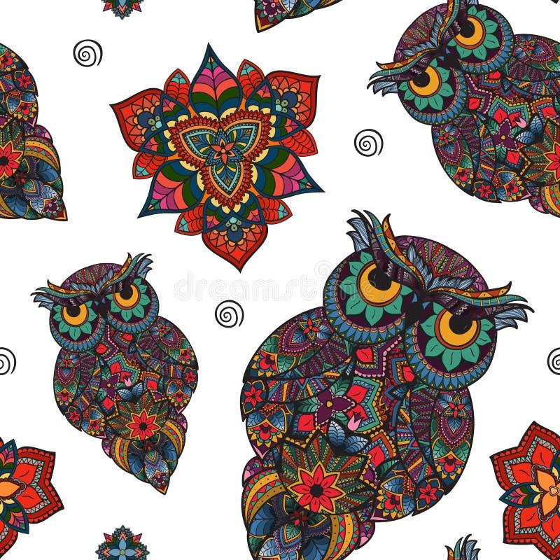 Vektorillustration av ugglan Fågel som illustreras i stam- Uggla med blommor på ljus bakgrund Formad och dekorativ uggla royaltyfri illustrationer