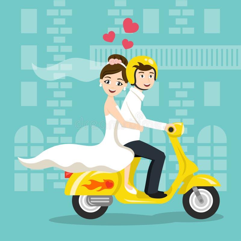 Vektorillustration av unga lyckliga nygifta personer brud och brudgum royaltyfri illustrationer