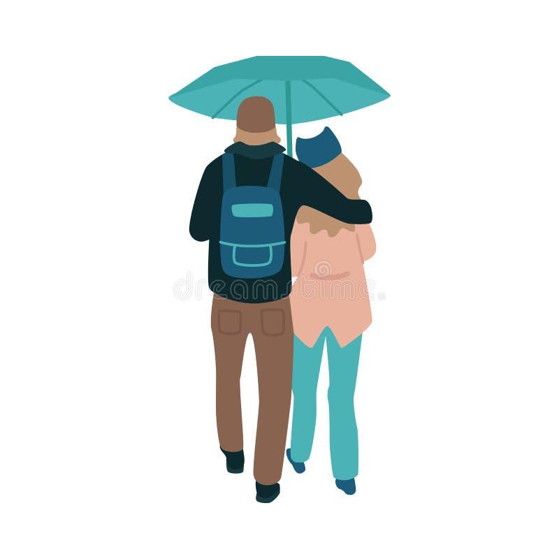 Vektorillustration av unga par som vänds av deras baksida som går under paraplyet i regnigt väder stock illustrationer