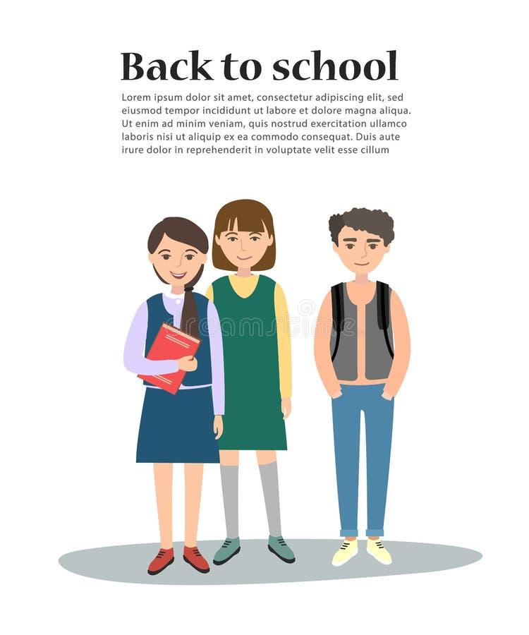 Vektorillustration av unga ungar för en skola tillbaka skolamall till stock illustrationer