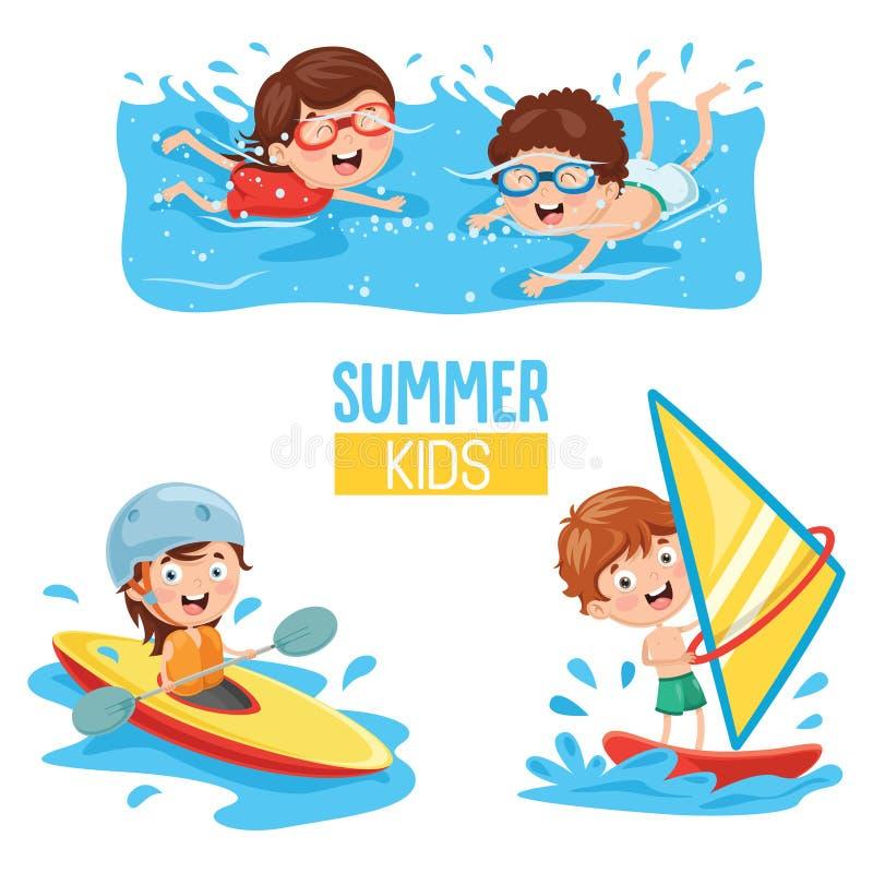 Vektorillustration av ungar som gör vattensportar royaltyfri illustrationer