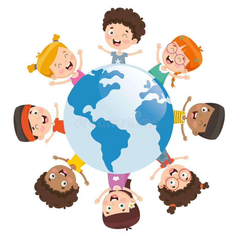 Vektorillustration av ungar som runt om världen spelar vektor illustrationer