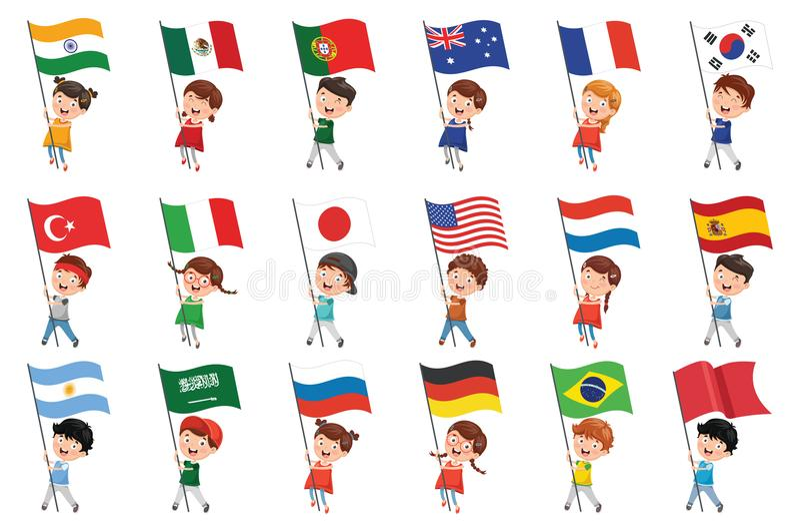 Vektorillustration av ungar som rymmer flaggor royaltyfri illustrationer
