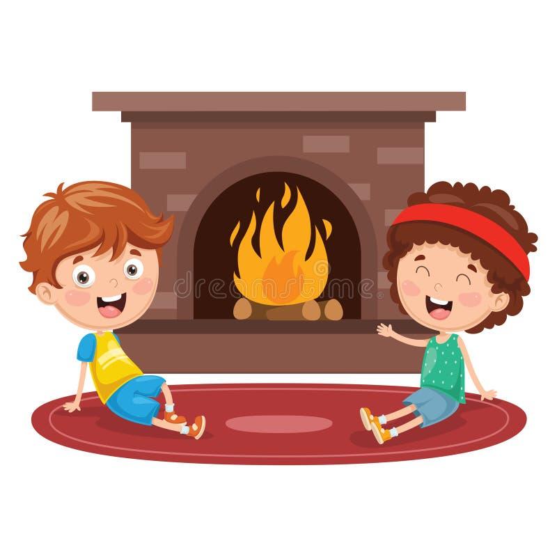 Vektorillustration av ungar som sitter i Front Of Fireplace stock illustrationer