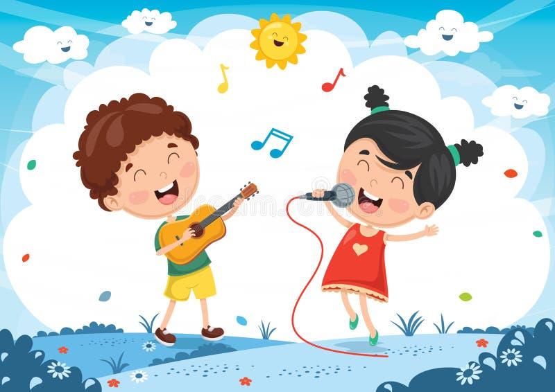 Vektorillustration av ungar som spelar musik och att sjunga royaltyfri illustrationer