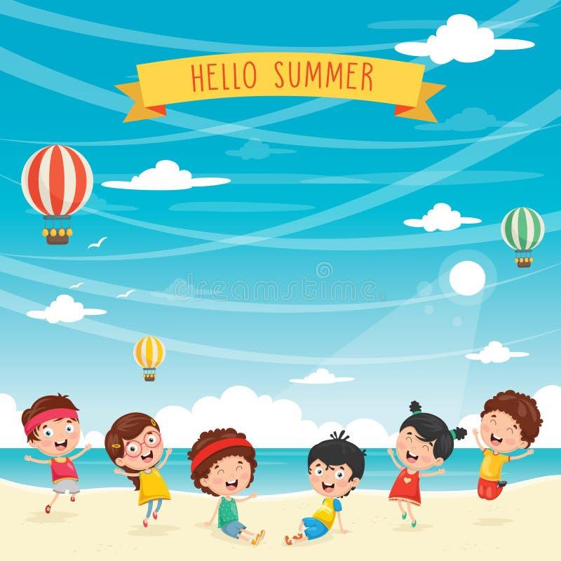 Vektorillustration av ungar som spelar på stranden stock illustrationer