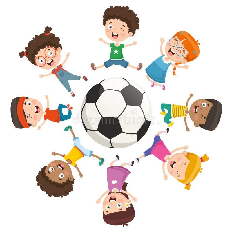 Vektorillustration av ungar som spelar runt om en boll stock illustrationer