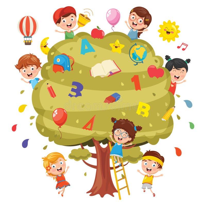 Vektorillustration av ungar som studerar på träd royaltyfri illustrationer