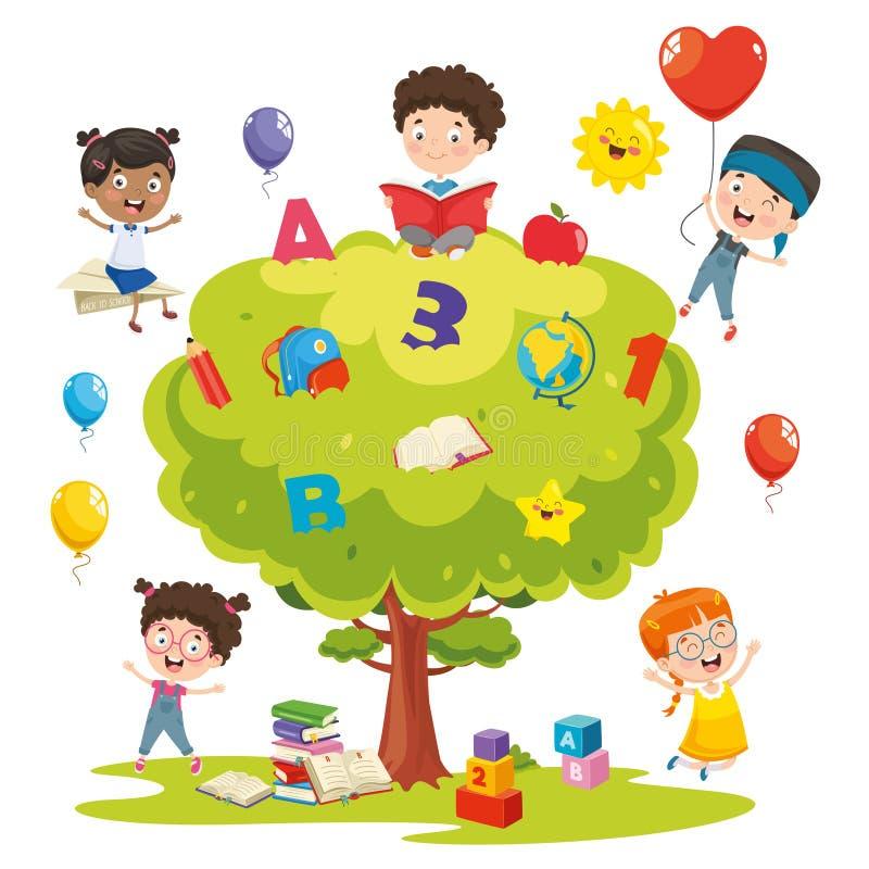 Vektorillustration av ungar som studerar på träd stock illustrationer