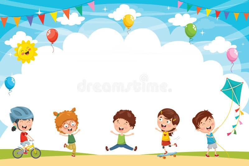 Vektorillustration av ungar som utanför spelar vektor illustrationer
