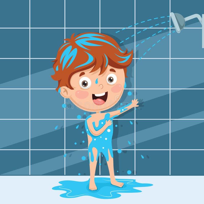 Vektorillustration av ungebadningen vektor illustrationer