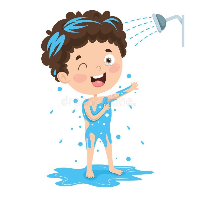Vektorillustration av ungebadningen royaltyfri illustrationer