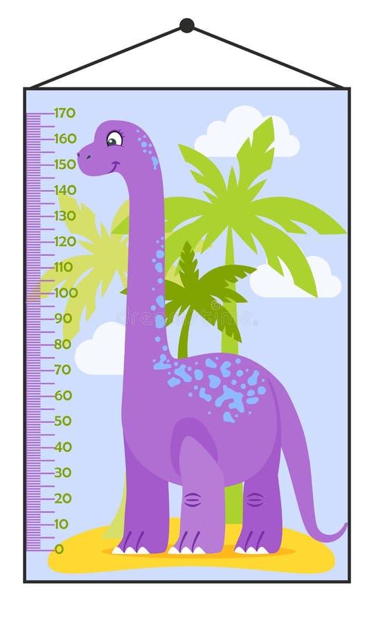 Vektorillustration av ungehöjddiagrammet med tecknad filmdinosaurien royaltyfri illustrationer