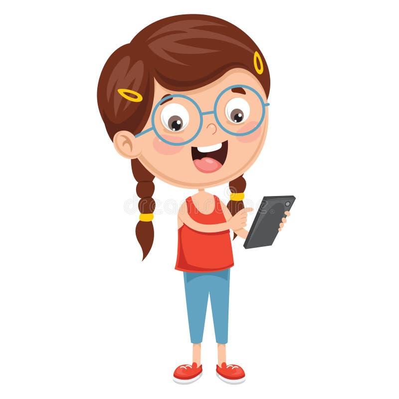 Vektorillustration av ungen som använder mobila enheten vektor illustrationer