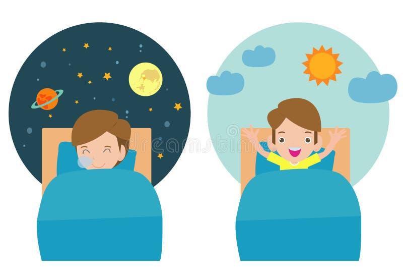 Vektorillustration av ungen som sover och vaknar, barn som sover på ikvälldrömmar, bra natt och söt drömmar royaltyfri illustrationer
