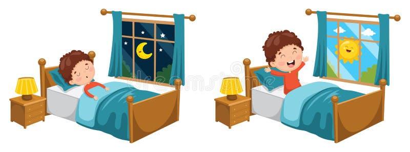 Vektorillustration av ungen som sover och vaknar upp stock illustrationer