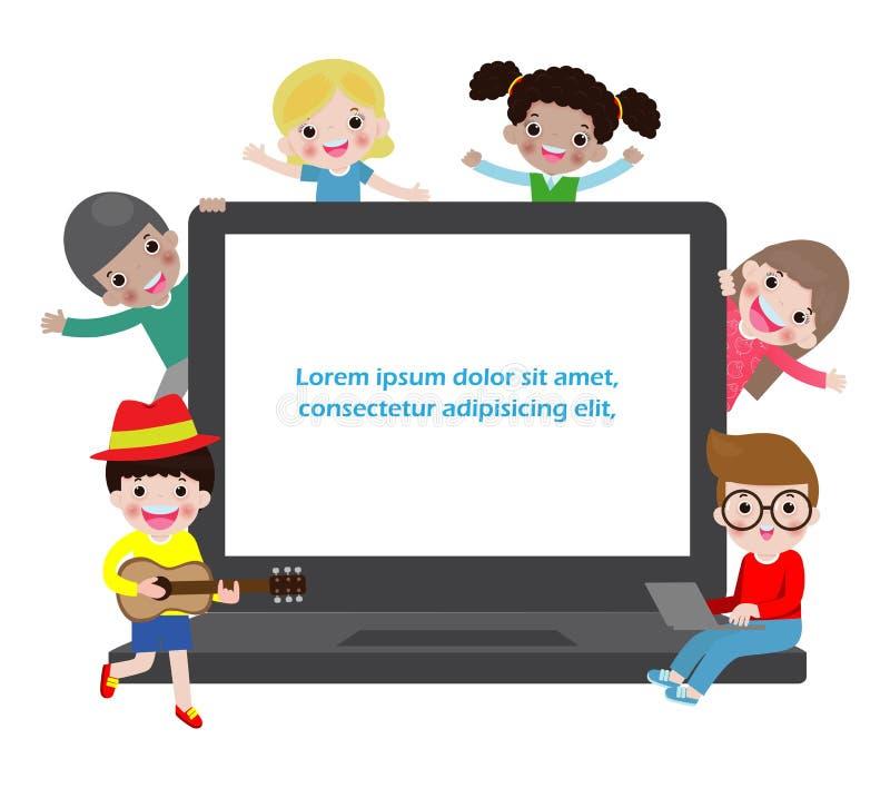 Vektorillustration av ungen som studerar med bruket av b?rbara datorn, anteckningsbok, barn som anv?nder b?rbara datorn stock illustrationer