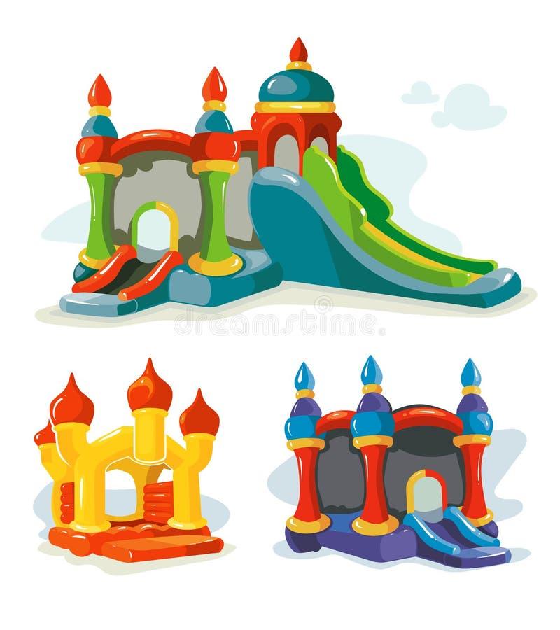 Vektorillustration av uppblåsbarslottar och barnkullar på lekplats vektor illustrationer