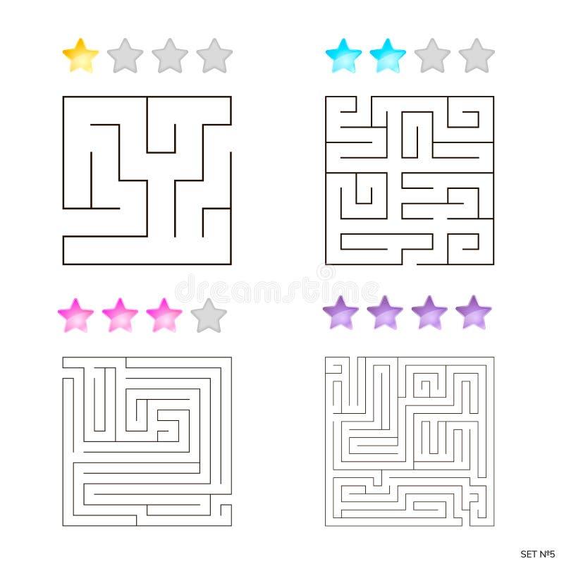 Vektorillustration av uppsättningen av 4 fyrkantiga labyrinter för ungar vektor illustrationer