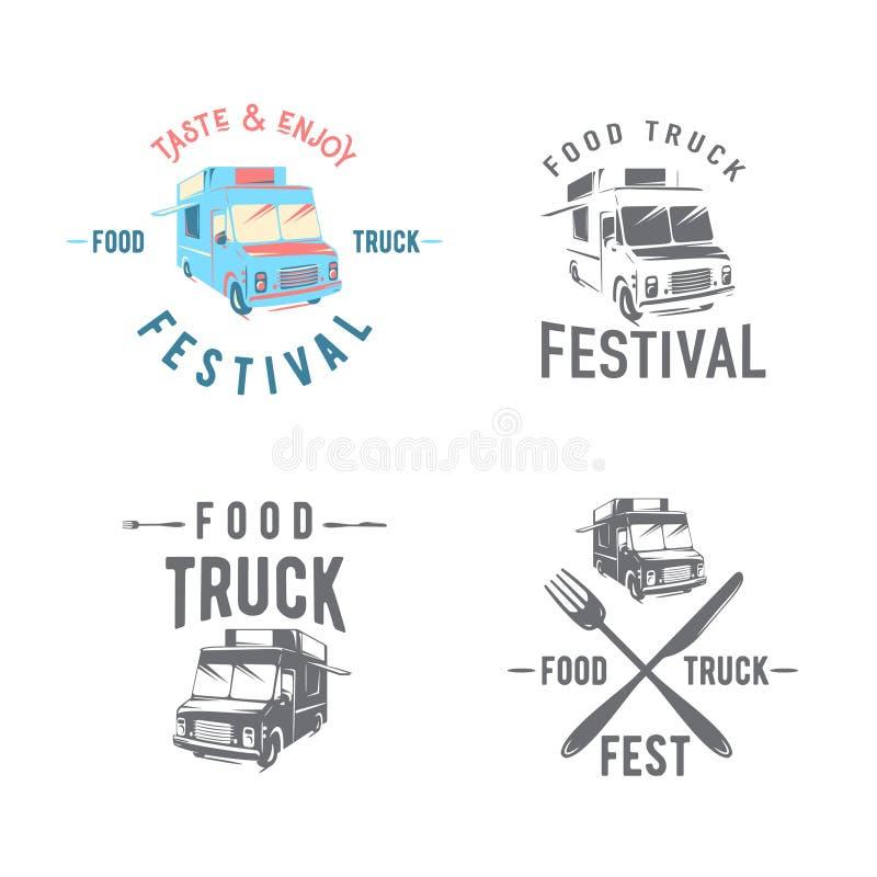 Vektorillustration av uppsättningen för emblem för gatamatlastbil den grafiska royaltyfri illustrationer